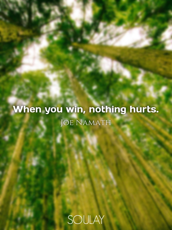 When you win, nothing hurts. - Quote Poster