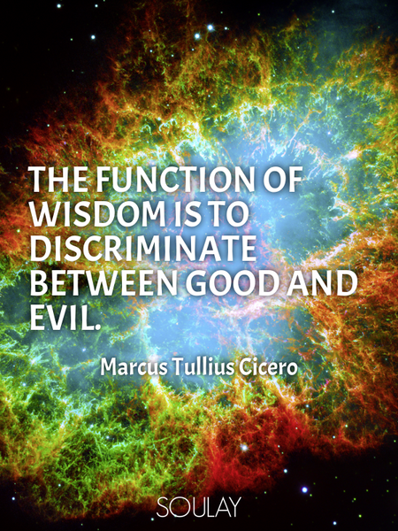 The function of wisdom is to discriminate between good and evil. (Poster)