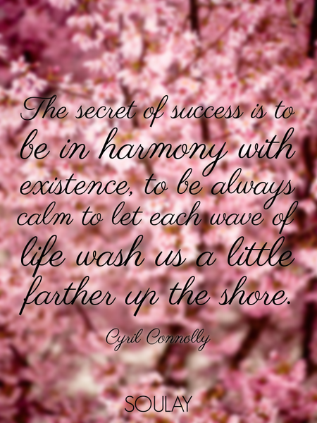 The secret of success is to be in harmony with existence, to be always calm to let each wave of l... (Poster)