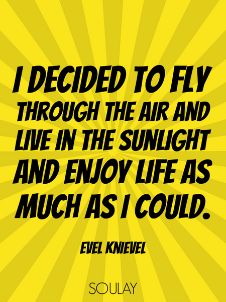 I decided to fly through the air and live in the sunlight and enjoy life as much as I could. (Poster)