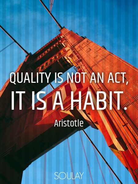 Quality is not an act, it is a habit. (Poster)