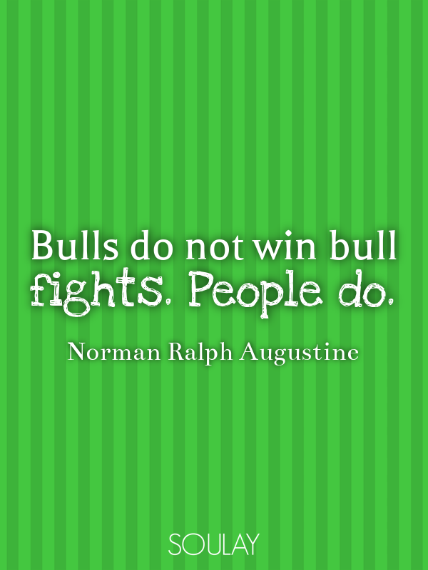 Bulls do not win bull fights. People do. - Quote Poster