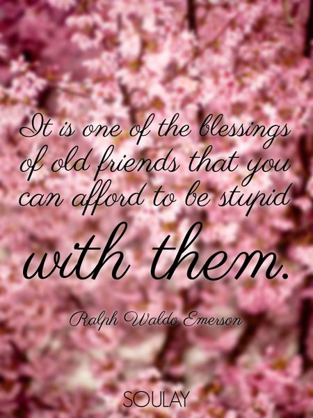 It is one of the blessings of old friends that you can afford to be stupid with them. (Poster)