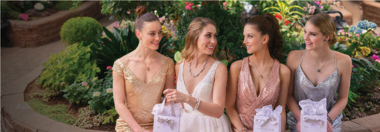 Four bridesmaids with Hillberg & Berk Bridesmaid Collection pieces