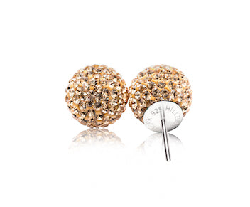 Gold Sparkle Ball Stud Earring