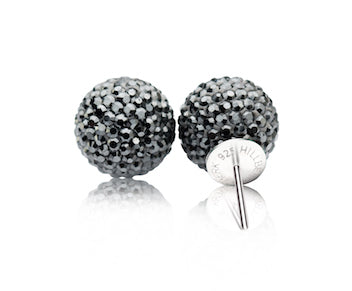 Hematite Sparkle Ball Stud Earring