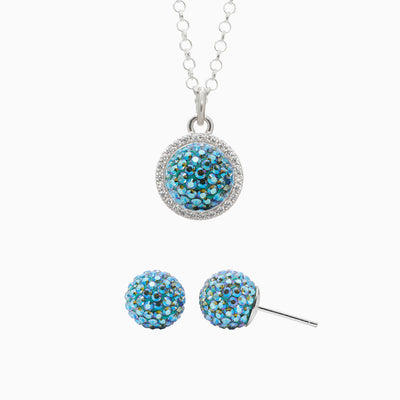 Sparkle Ball™ 10mm Stud and Halo Necklace Set - Electric Ocean