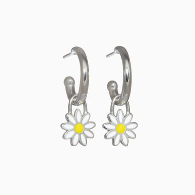 Silver Charm Hoops + Enamel Daisy Charms
