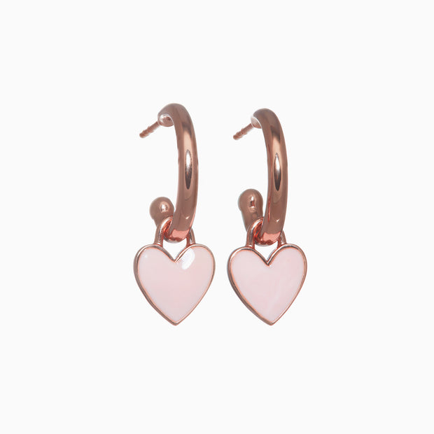Rose Gold Charm Hoops + Enamel Heart Charms + Rose Gold Pearl Charms