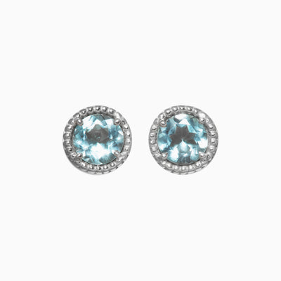 5mm Sky Blue Topaz Stud Earrings in 14K White Gold
