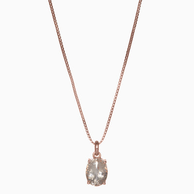 Oval Morganite Pendant in 14K Rose Gold