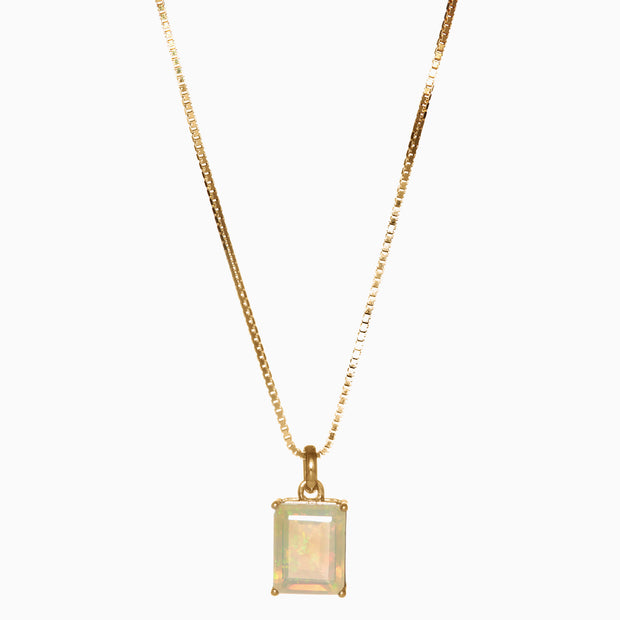 Emerald Cut Opal Pendant in 14K Gold
