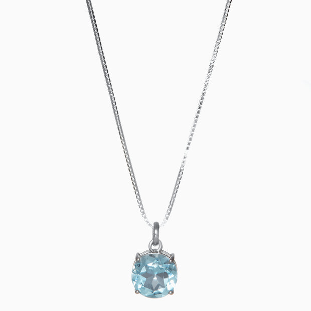 Round Sky Blue Topaz Pendant in 14K White Gold