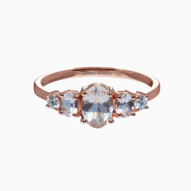 Oval Morganite and Diamond Accent Ring in 14K Rose Gold
