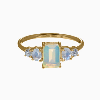 Emerald Cut Opal, Rainbow Moonstone and Diamond Accent Ring in 14K Gold