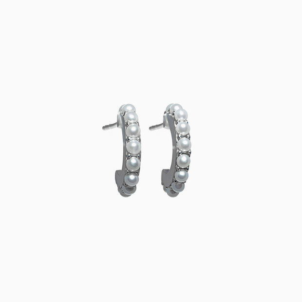 Petite Pearl Hoop Earrings
