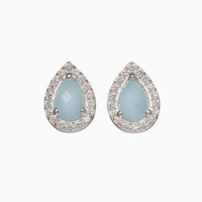 Holly Gemstone Stud Earrings - Aquamarine