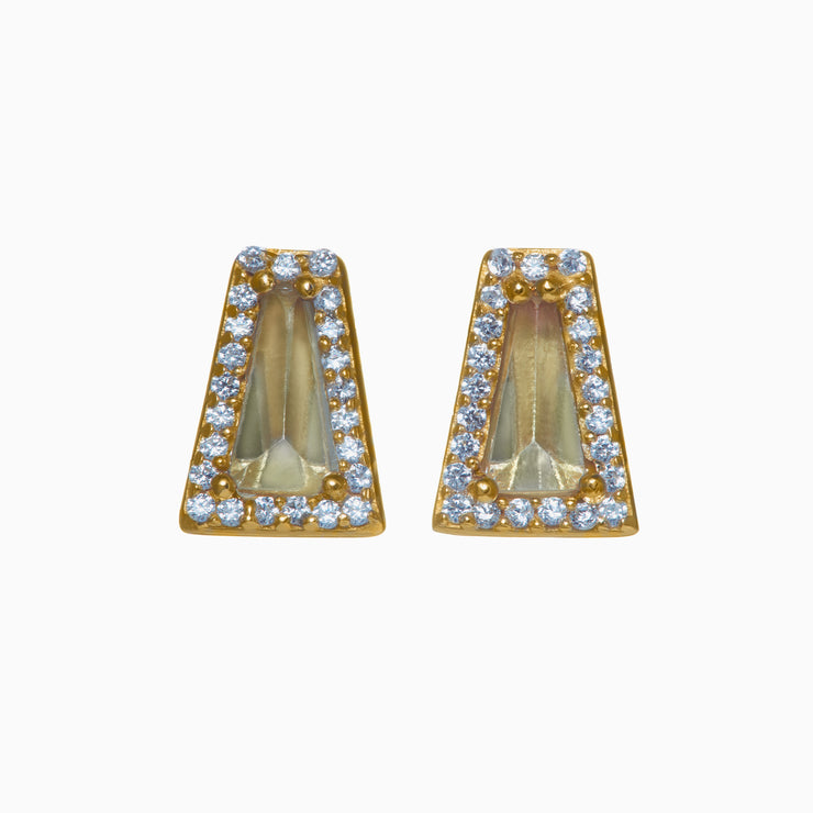Kristen Gemstone Stud Earrings - Green Amethyst
