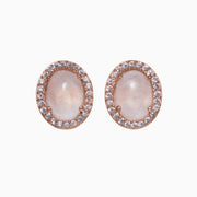 Rachel Gemstone Stud Earrings - Rose Quartz
