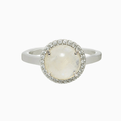 Lisa Gemstone Ring - Rainbow Moonstone