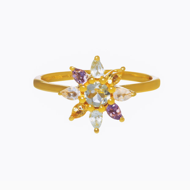 Gemstone Flower Ring - Marigold
