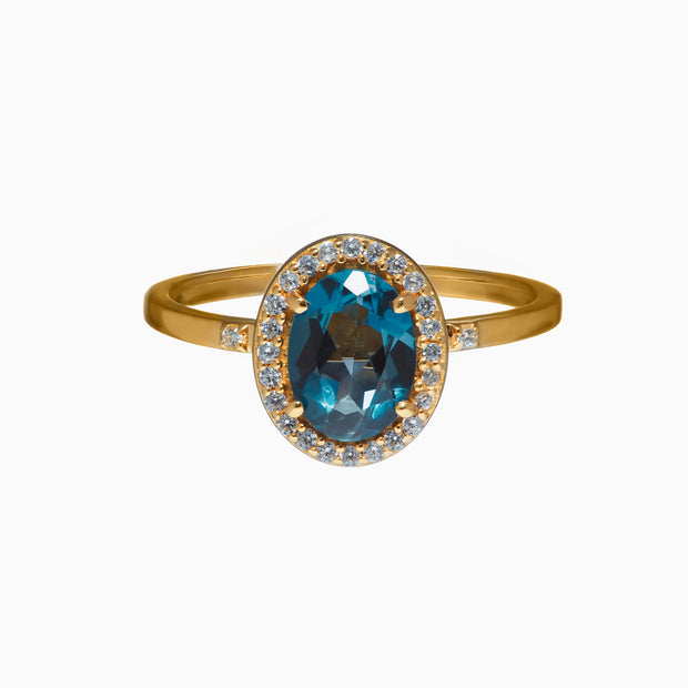 Danielle Gemstone Ring - London Blue Topaz