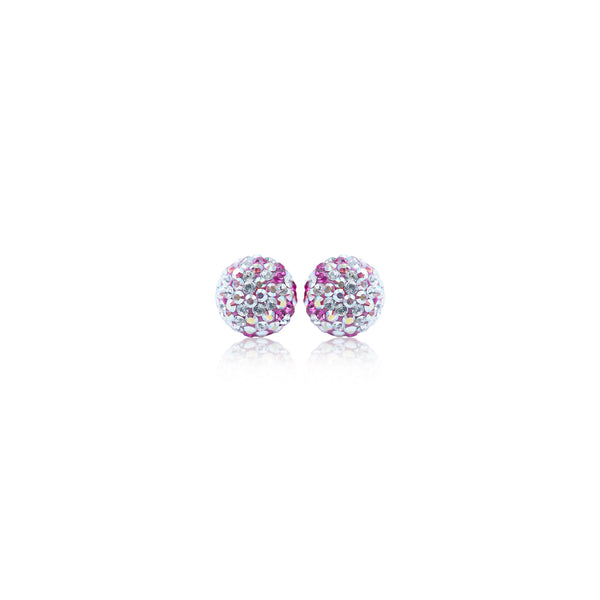 Pink Hope Sparkle Ball Stud Earrings