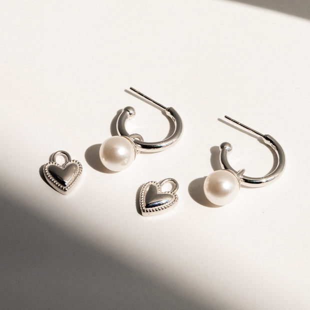 Charm Hoops + Metal Heart Charms + Pearl Charms