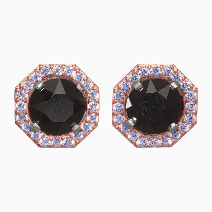 Octagon Blooms with Onyx Crystal Studs