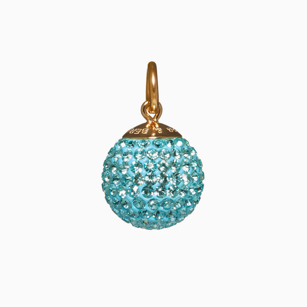 Cyan Blue Sparkle Ball™ Long Necklace Pendant