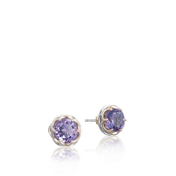 Lilac Blossoms Crescent Crown Studs - SE105P01