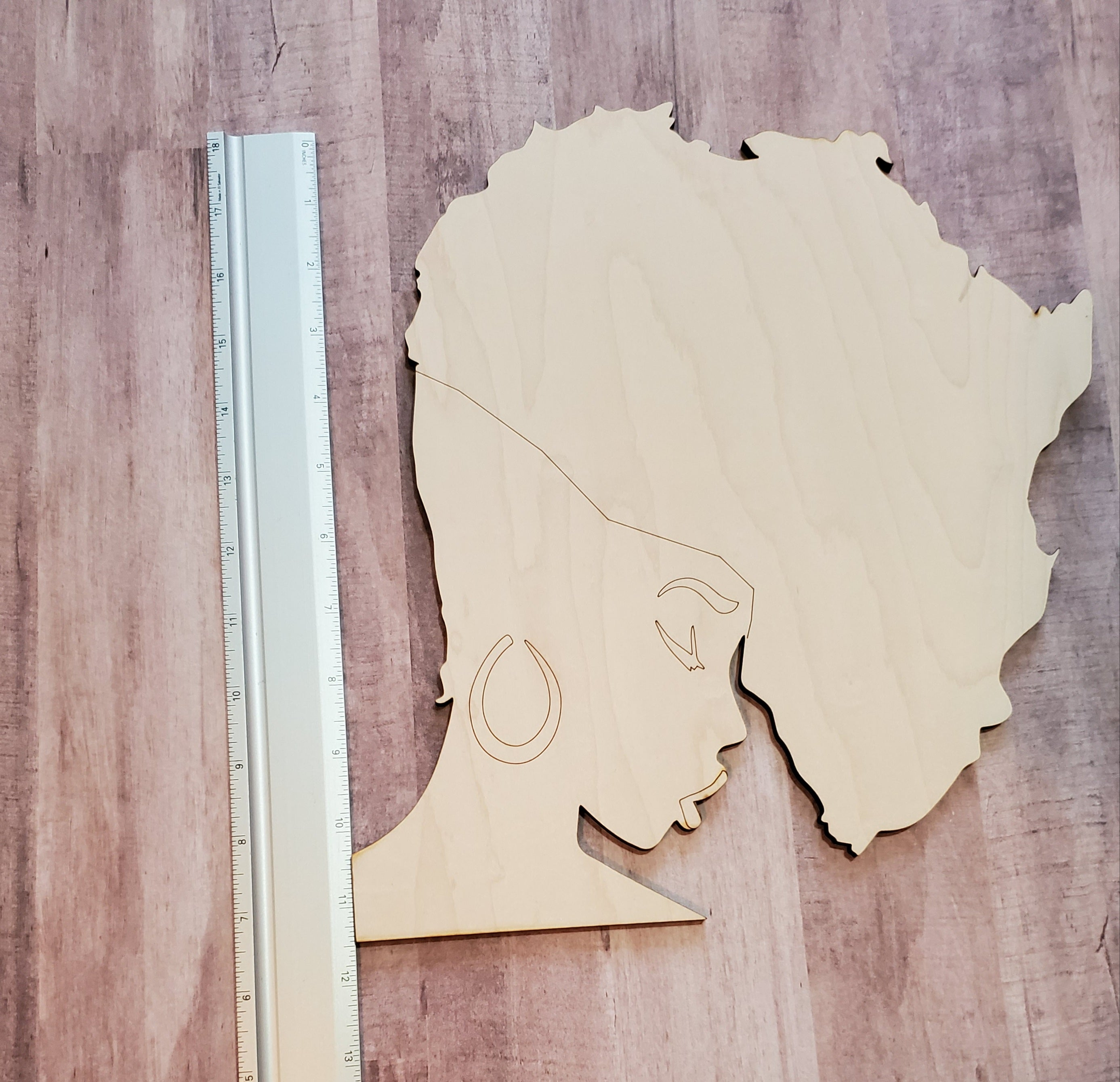 African Head Wood Cut Out