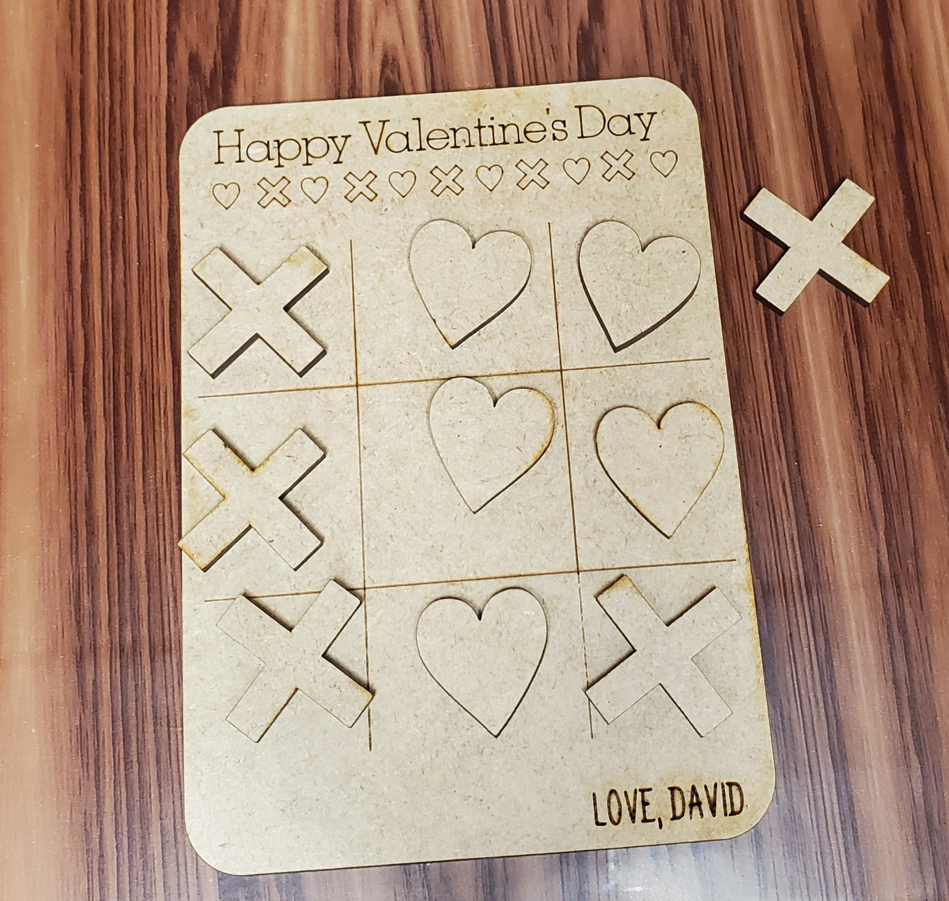 Personalized Tic Tac Toe Valentines Day Card