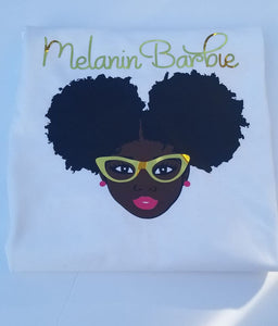 Girls Melanin Barbie Tee-Melanin Magic-African American Girl-Black Girl Magic-For The Culture