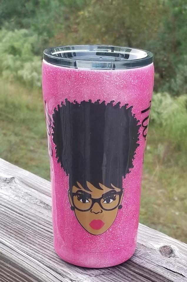 No Sugar No Cream Tumbler-Tumbler-Glitter Tumbler-African Ameican Girl-Afro Girl-For The Culture