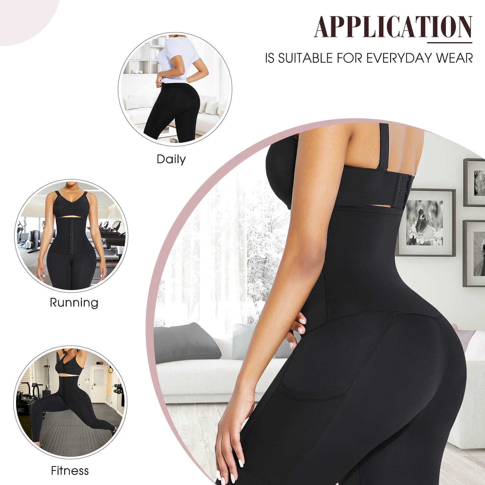 Sculptshe 2 IN 1 Adjustable Waist Trainer Leggings