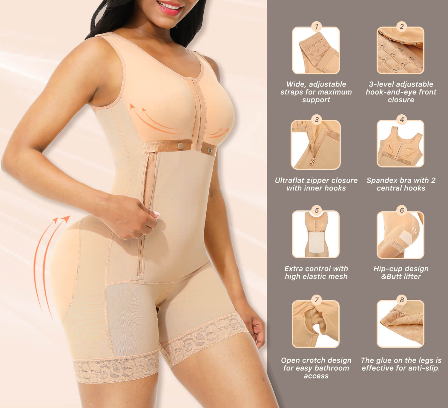 Sculptshe High Compression Full Body Shaper with Side Zipper