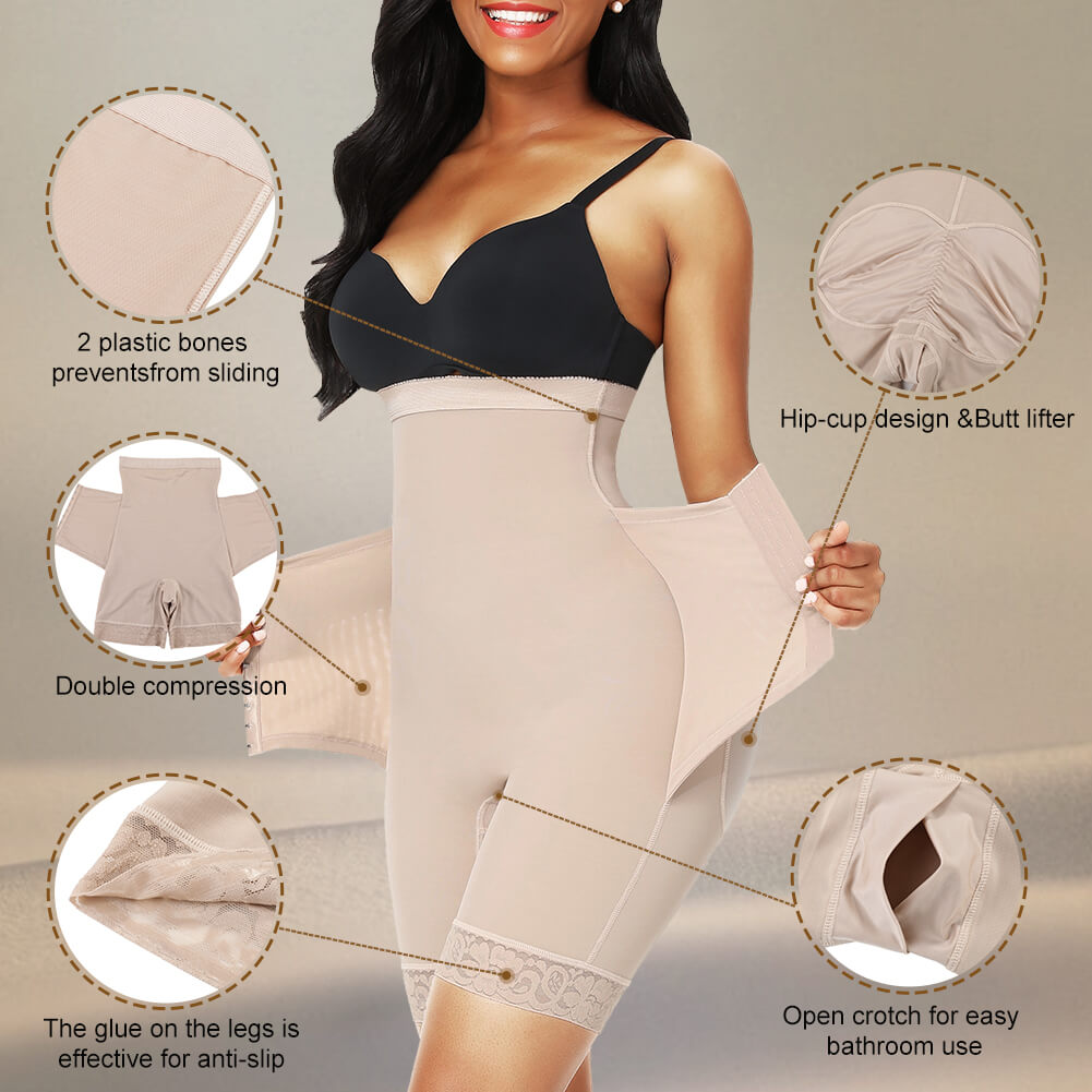 Sculptshe High Waist Tummy Control Open Crotch Body Shaper