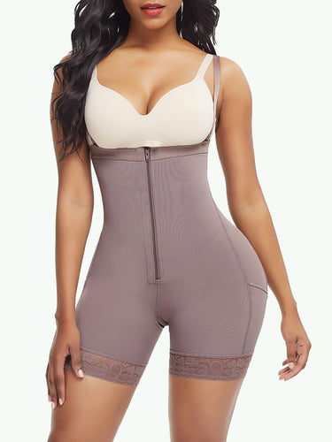 Sculptshe Zipper Detachable Straps Postsurgical Body Shaper