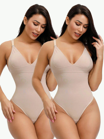 Sculptshe 2-Pack Adjustable Straps Thong Bodysuit
