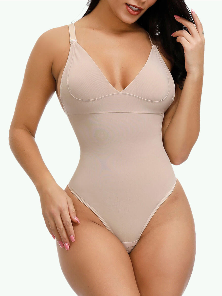 Sculptshe Adjustable Straps Tummy Control Thong Bodysuit