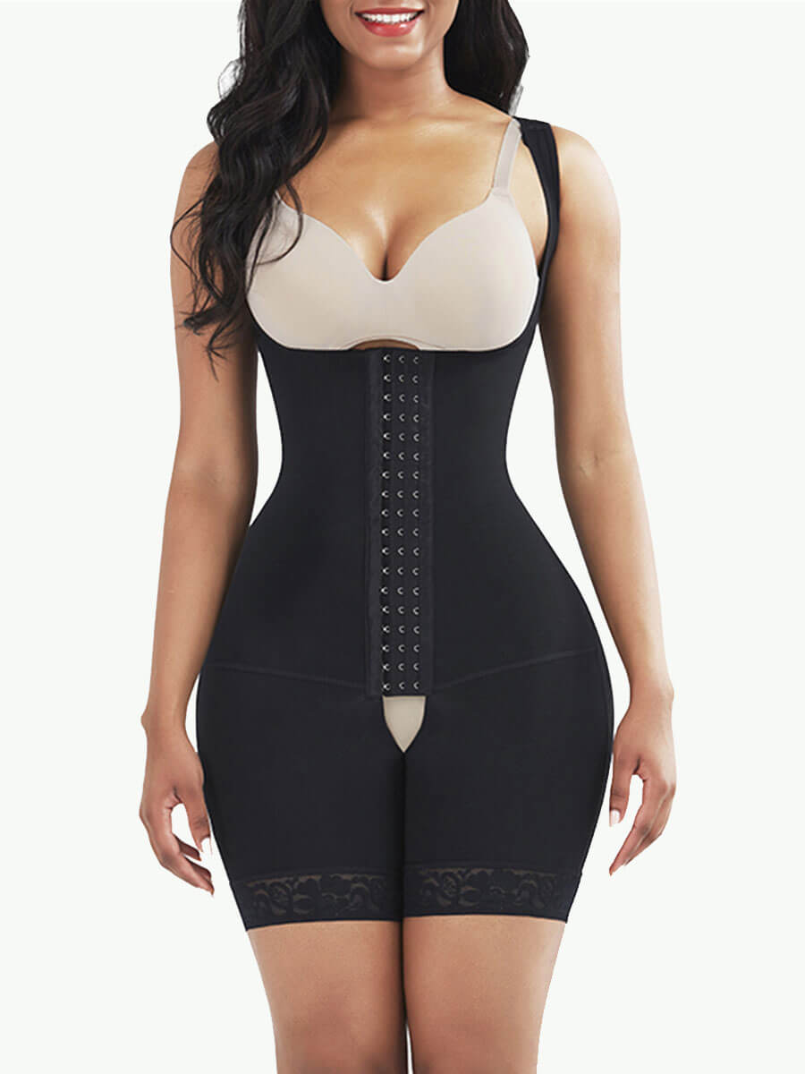 Sculptshe Hook Open Crotch Underbust Bodysuit Shaper