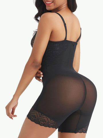 Sculptshe Open Crotch Lace Bodysuit Shapewear