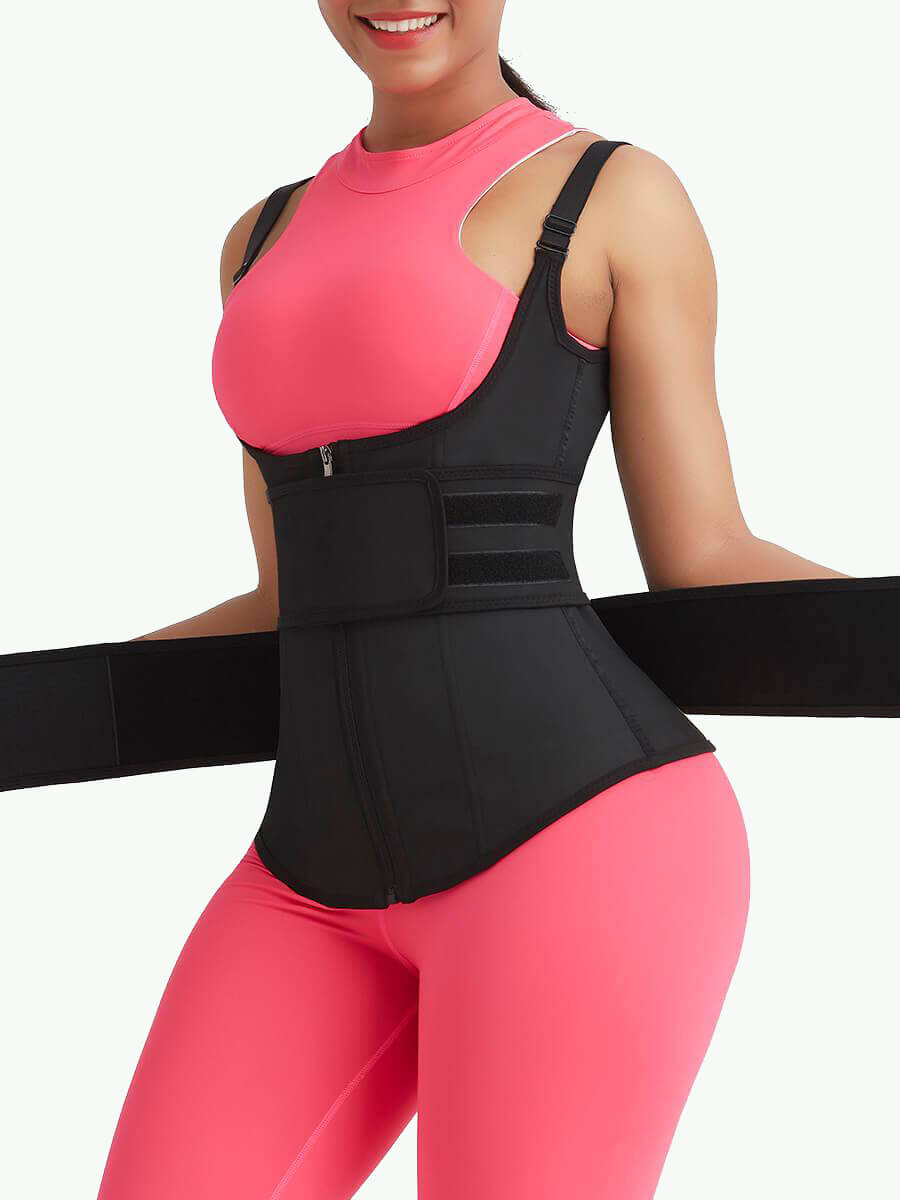 double belt waist trainer belt