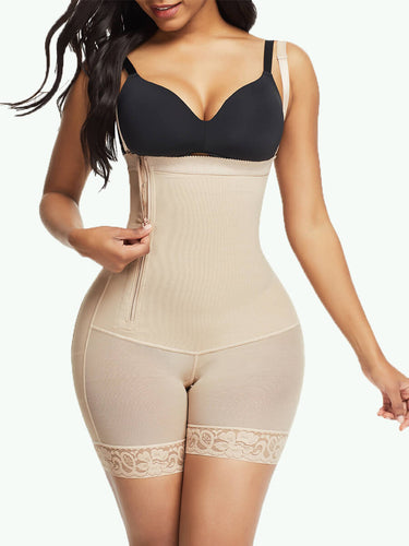 Sculptshe Side Zipper Lace Hem Body Shaper