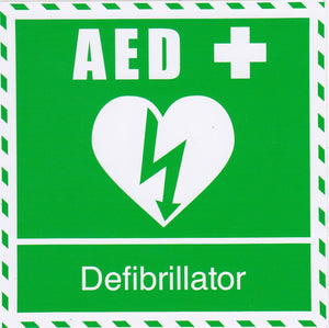 AED Defibrillator Sticker 100mm x 100mm