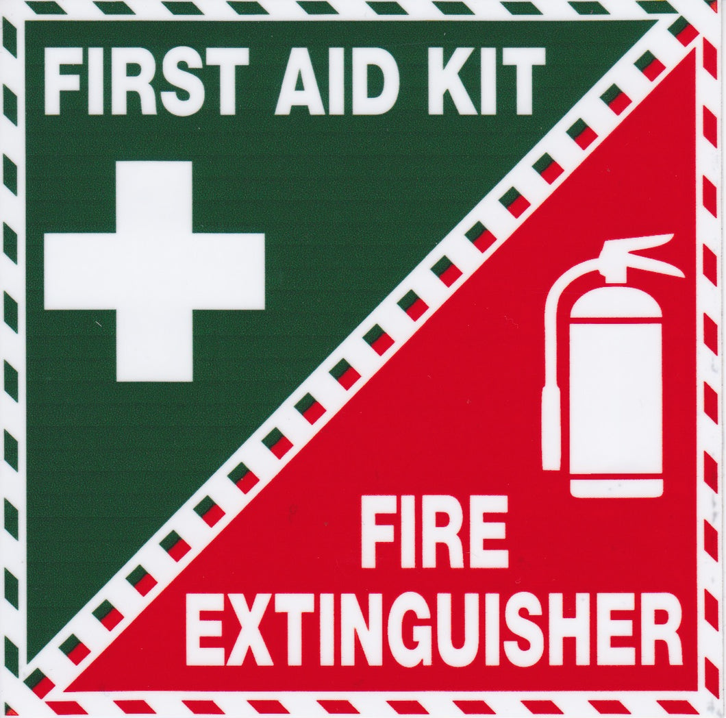 First Aid Kit - Fire Extinguisher Sticker 100mmx100mm