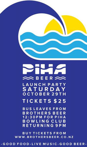 Piha Beer Launch Party - 29th October 2016 poster