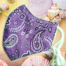 Load image into Gallery viewer, Face Mask (Purple Paisley)