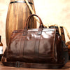 MAHEU Smooth Leather Vintage Travel Bag